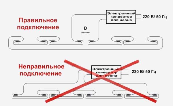 Схема подключения неона