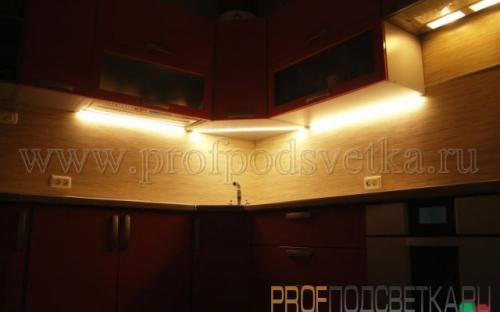 Светодиодная подсветка столешницы кухни